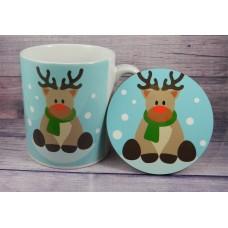 Christmas Mug and Coaster - Reindeer