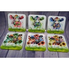 Coaster Set - Cow splash
